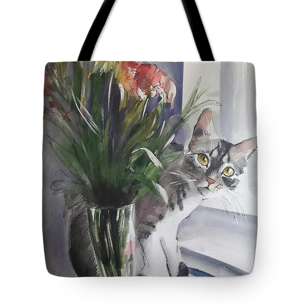 Do You See Me? Pet Portrait In Watercolor .modern Cat Art With Flowers  Tote Bag