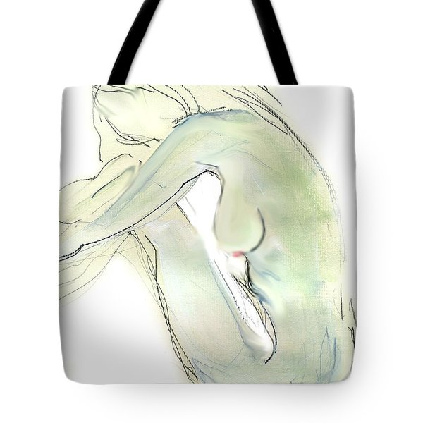 Do You Think - Female Nude Tote Bag by Carolyn Weltman