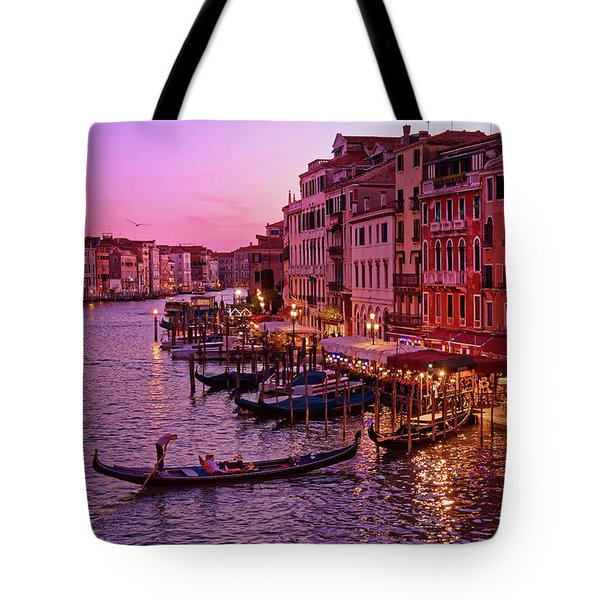 A Cityscape With Vintage Buildings And Gondola - From The Rialto In Venice, Italy Tote Bag