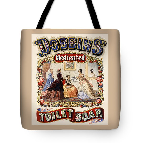 Tote Bag featuring the digital art Dobbins Medicated Toilet Soap by ReInVintaged