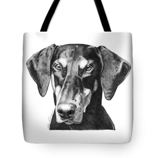 Tote Bag featuring the drawing Doberman by Abbey Noelle