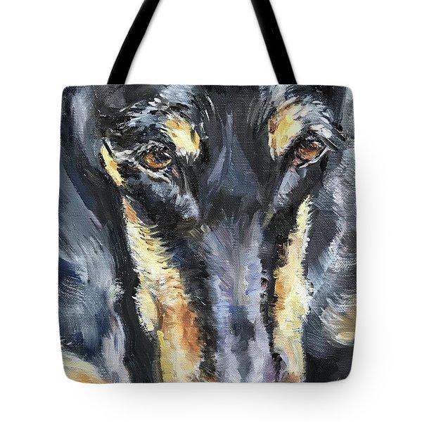 Doberman Oil Painting Tote Bag