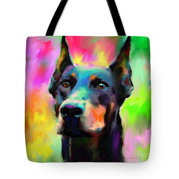 Doberman Pincher Dog Portrait Tote Bag