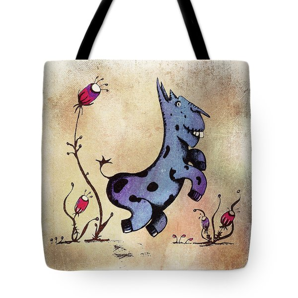 Tote Bag featuring the drawing Dobo The Donkey by Lenny Carter
