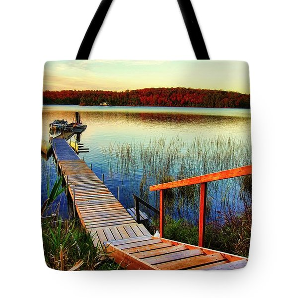 Dock At Gawas Bay Tote Bag
