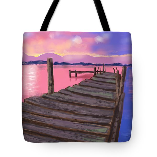 Tote Bag featuring the digital art Dock At Sunset by Diana Riukas