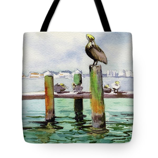 Tote Bag featuring the painting Dock O' The Bay by Kris Parins