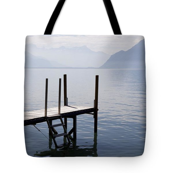Dock On Lac Leman Tote Bag by Colleen Williams