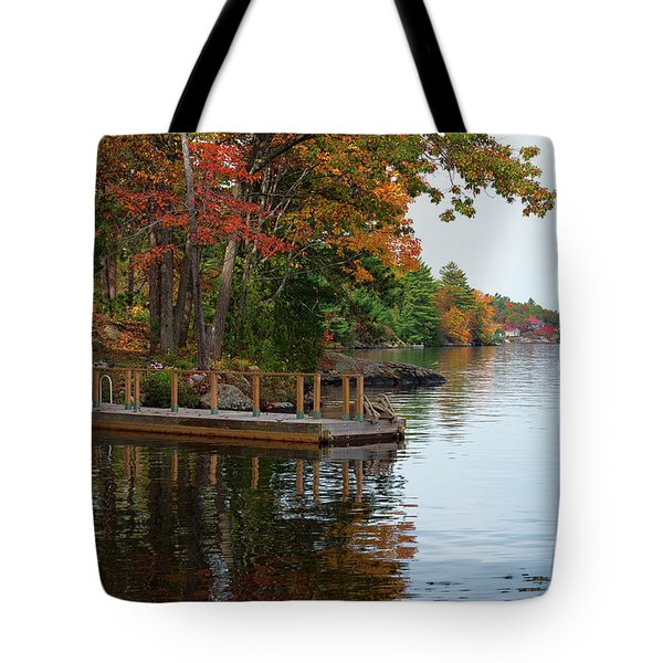 Dock On Lake In Fall Tote Bag