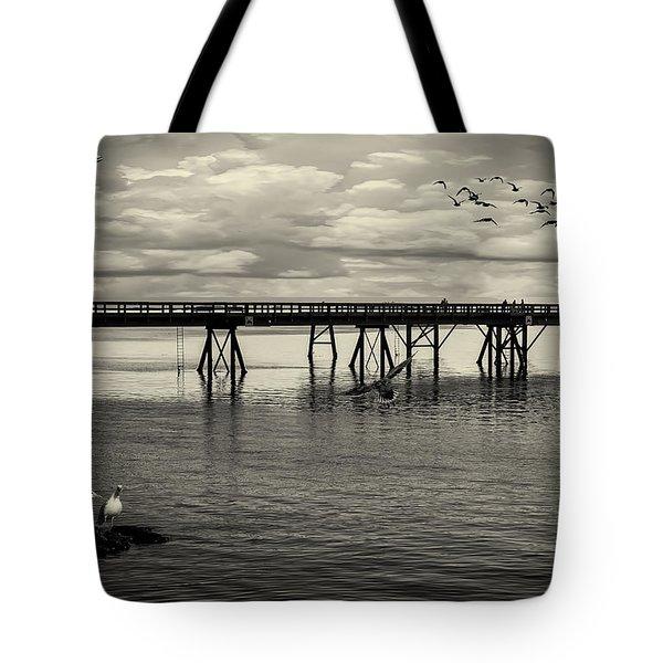 Dock On The Sea Tote Bag