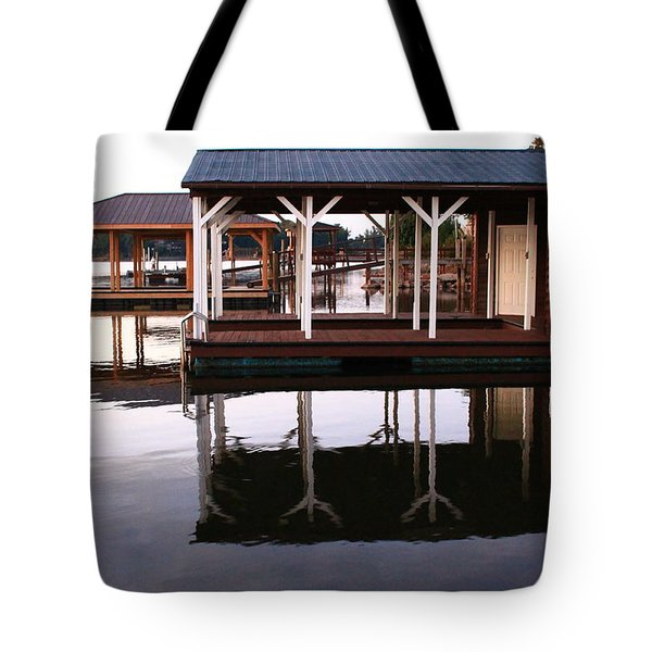 Dock Reflections Tote Bag by Catie Canetti