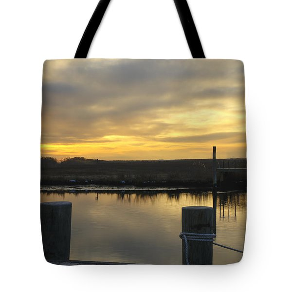 Dock Sunset Tote Bag by Steve Gravano