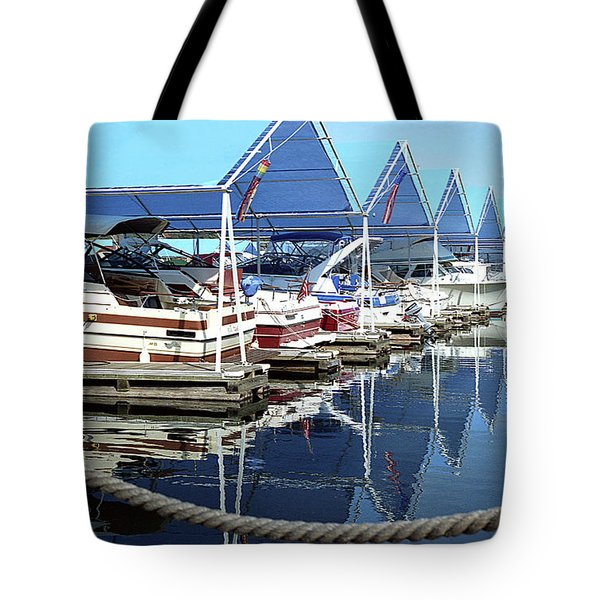 Tote Bag featuring the photograph Docked Boats by Emanuel Tanjala
