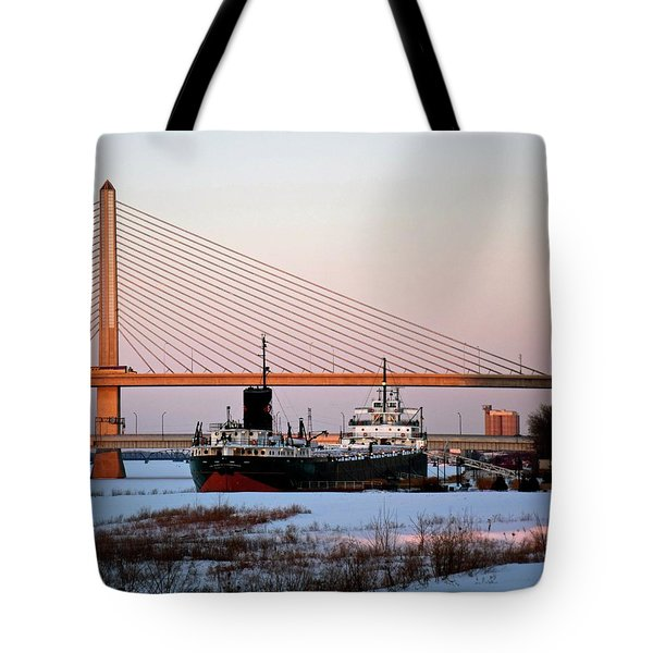 Docked Under The Glass City Skyway  Tote Bag