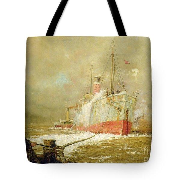 Docking A Cargo Ship Tote Bag
