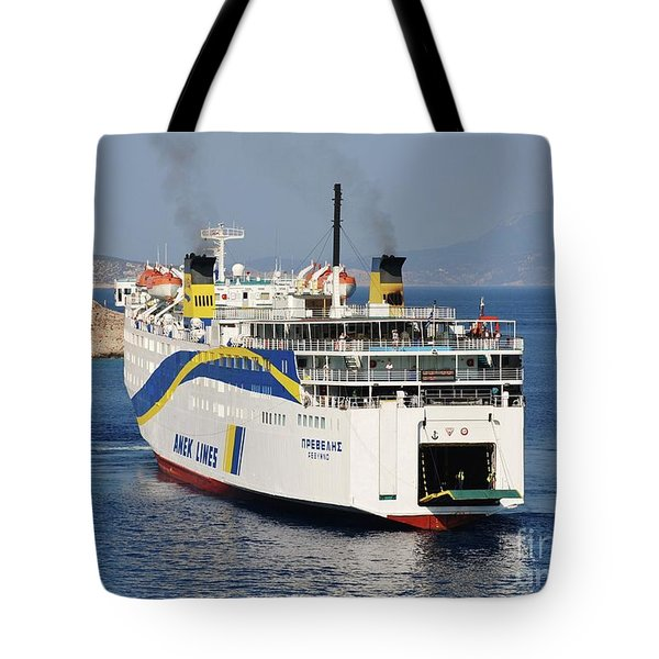 Docking Ferry On Halki Tote Bag