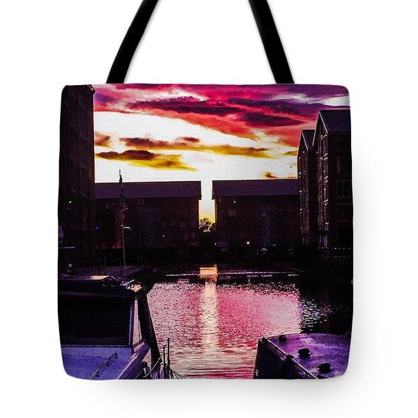 Dockland Sunset Tote Bag