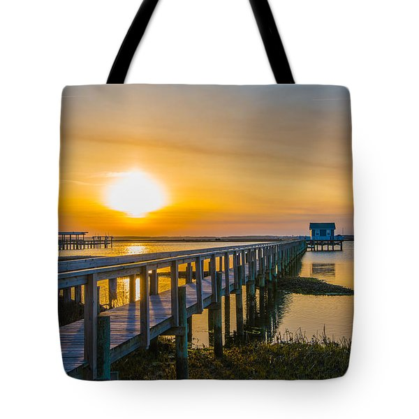 Docks At Sunset I Tote Bag