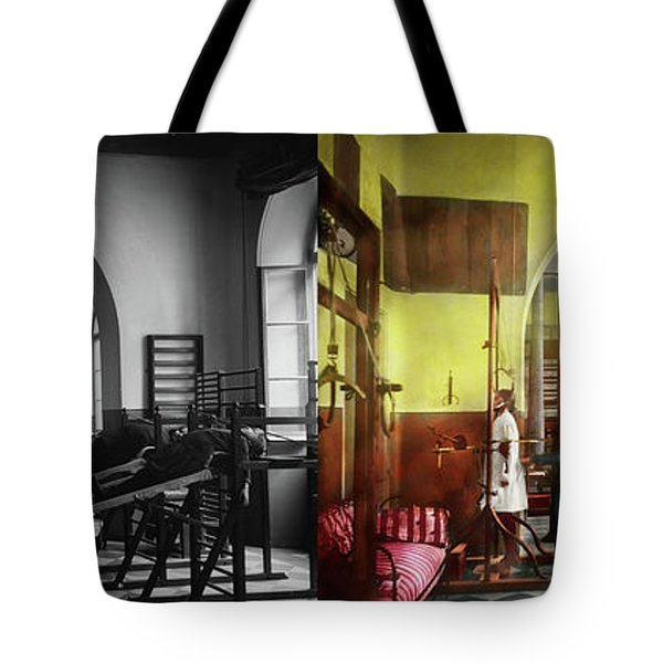 Tote Bag featuring the photograph Doctor - Physical Therapist - Welcome To The A Traction 1918 - Side By Side by Mike Savad