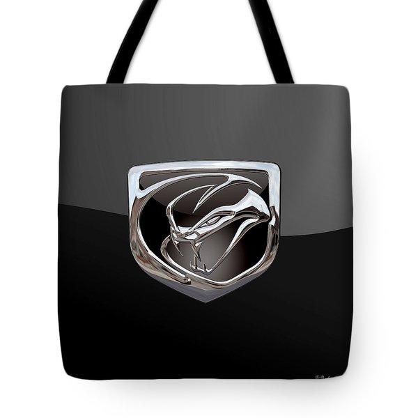 Dodge Viper - 3d Badge On Black Tote Bag