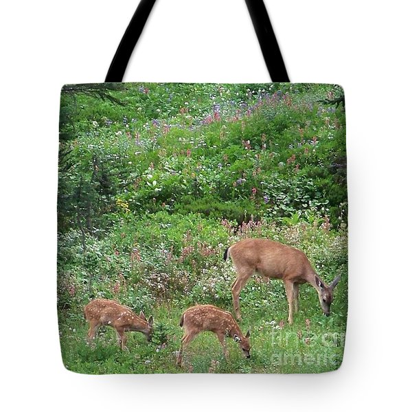 Tote Bag featuring the photograph Doe And Twin Fawns by Charles Robinson