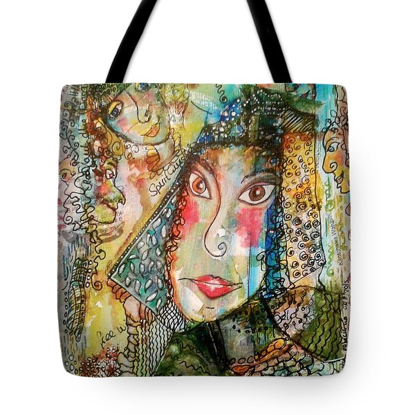 Doe Eyed Girl And Her Spirit Guides Tote Bag
