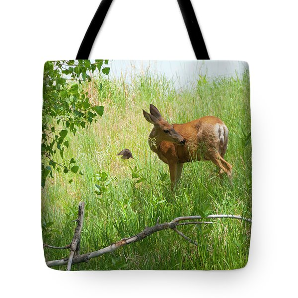 Doe Meets Bird 4 Tote Bag