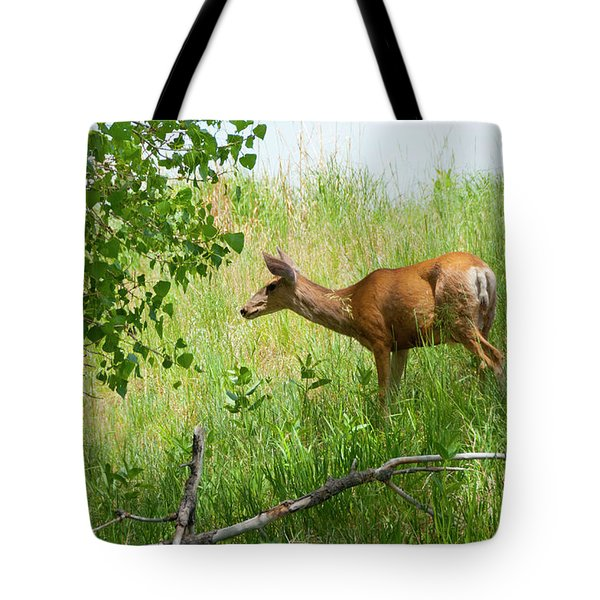 Doe Meets Bird 5 Tote Bag