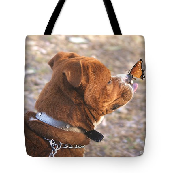 Tote Bag featuring the digital art Dog And Butterfly by John  Kolenberg