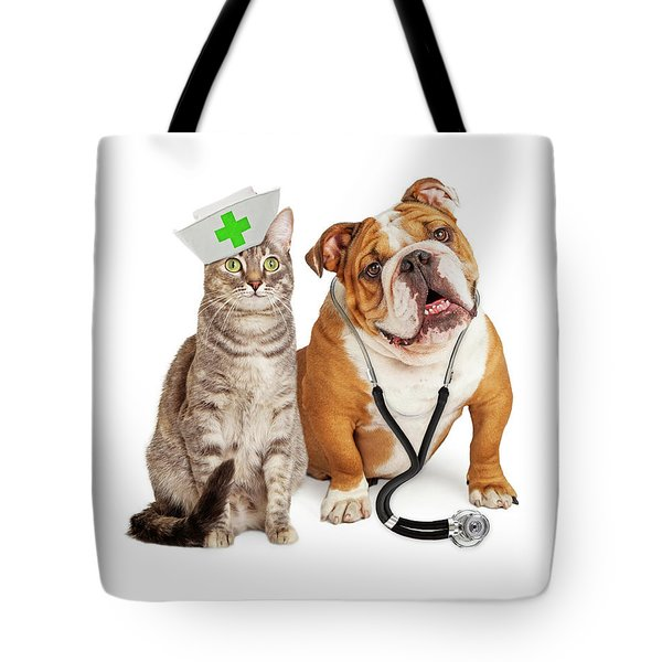 Dog And Cat Veterinarian And Nurse Tote Bag