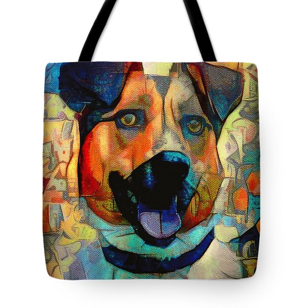 Dog And Cubes Tote Bag
