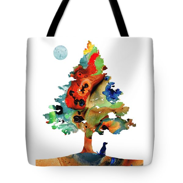 Tote Bag featuring the painting Dog Art - Contemplation 2 - By Sharon Cummings  by Sharon Cummings