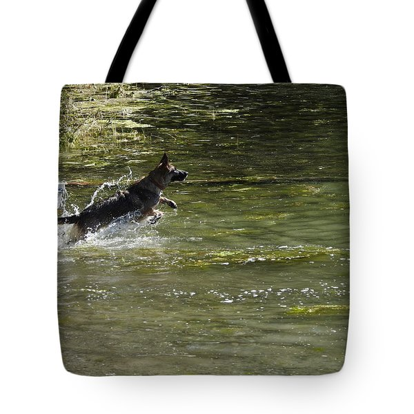 Dog Chasing His Stick Tote Bag