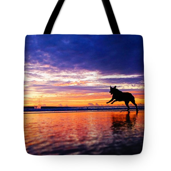 Dog Chasing Stick At Sunrise Tote Bag