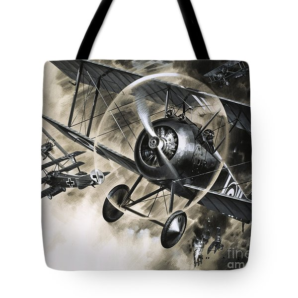Dog Fight Between British Biplanes And A German Triplane Tote Bag by Wilf Hardy