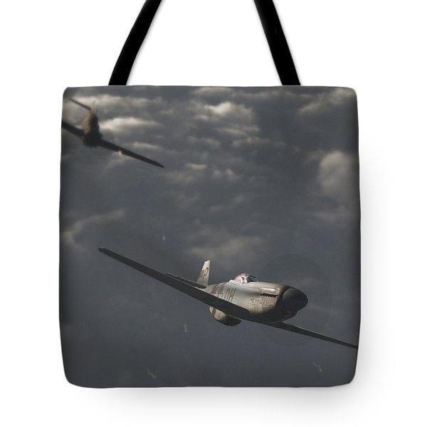 Dog Fight Tote Bag by Richard Rizzo