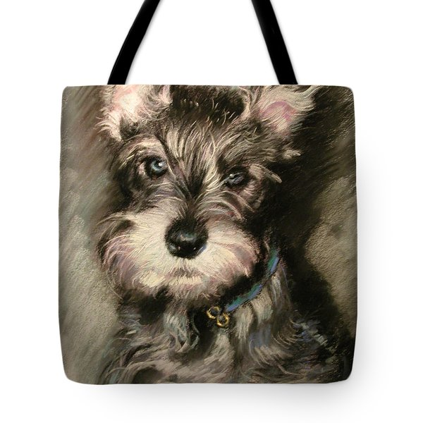Dog In Blue Collar Tote Bag