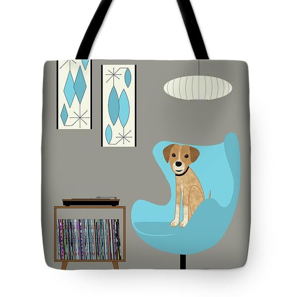 Tote Bag featuring the digital art Dog In Egg Chair by Donna Mibus