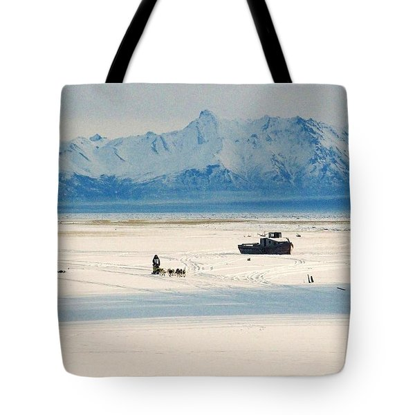 Dog Musher At Cook Inlet - Alaska Tote Bag by Juergen Weiss