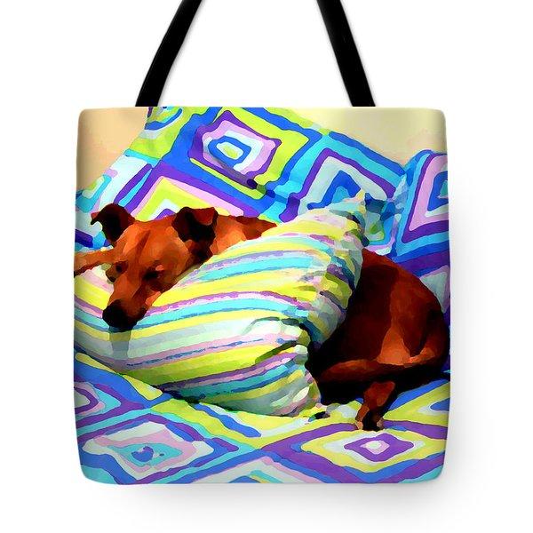 Dog Nap - Oil Effect Tote Bag