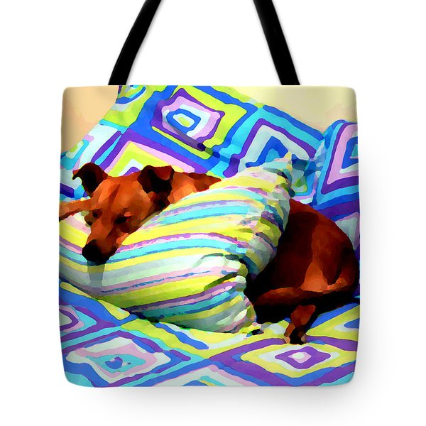 Dog Nap - Oil Effect Tote Bag