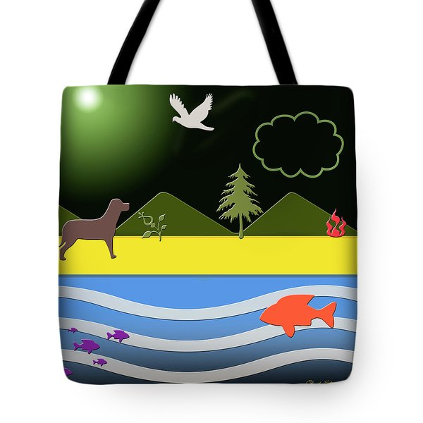 Tote Bag featuring the digital art Dog On Beach by Chuck Staley