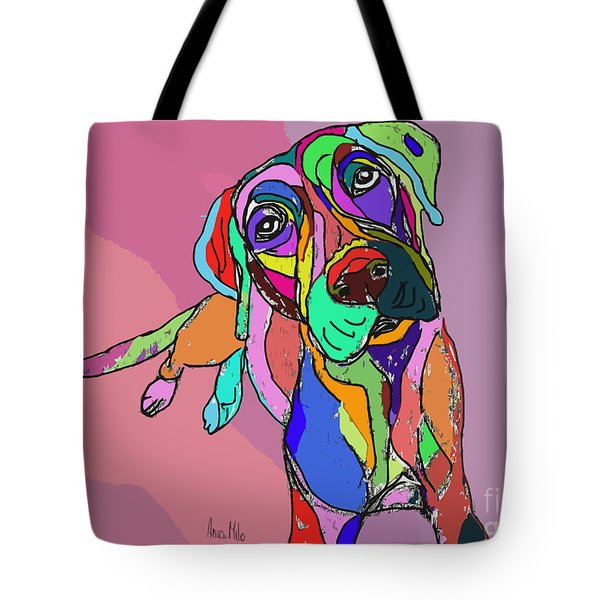 Dog Sketch Psychedelic  01 Tote Bag by Ania Milo
