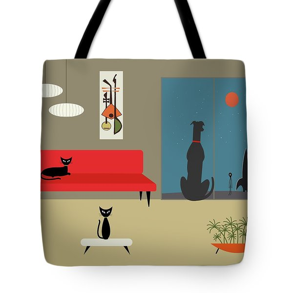 Tote Bag featuring the digital art Dog Spies Alien by Donna Mibus