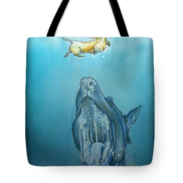 Dog-themed Jaws Caricature Art Print Tote Bag