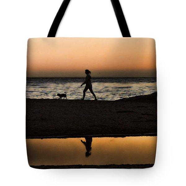 Dog Walker At Sunset Tote Bag