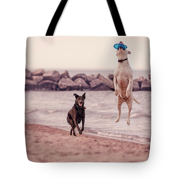 Dog With Frisbee Tote Bag