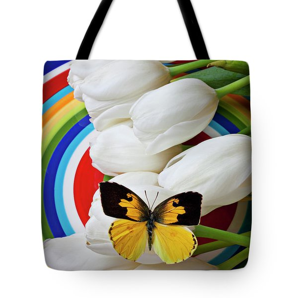 Dogface Butterfly On White Tulips Tote Bag by Garry Gay