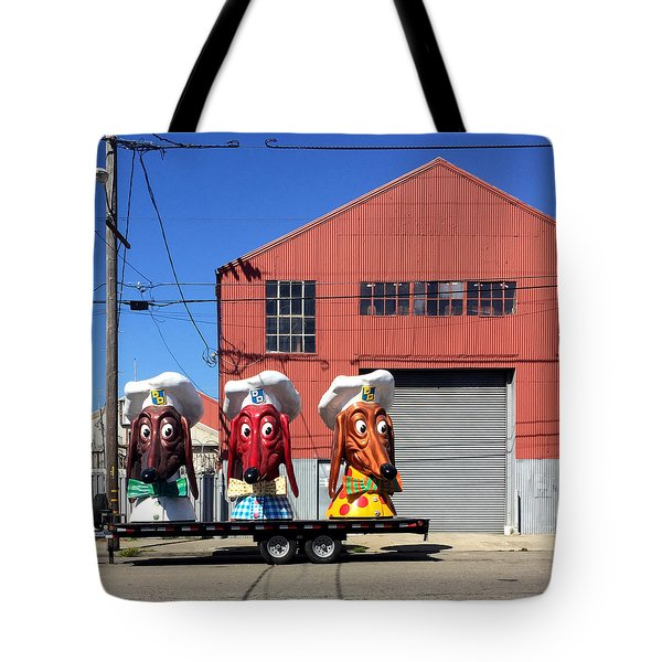 Doggie Diner Heads Tote Bag by Julie Gebhardt