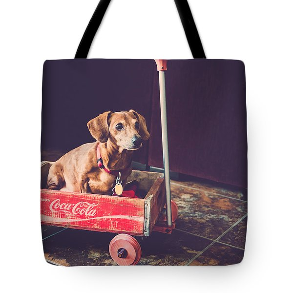 Tote Bag featuring the photograph Doggy In A Wagon by Teresa Blanton